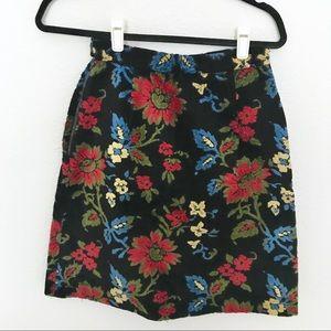Vintage Floral Velvet A Line Skirt